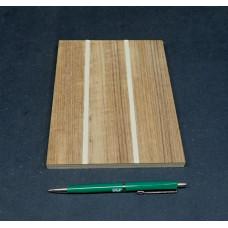 Plaatmateriaalmonster biezenplaat Teak + witte biezen